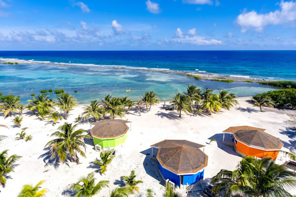 Belize Beach Cabana Drone Shot