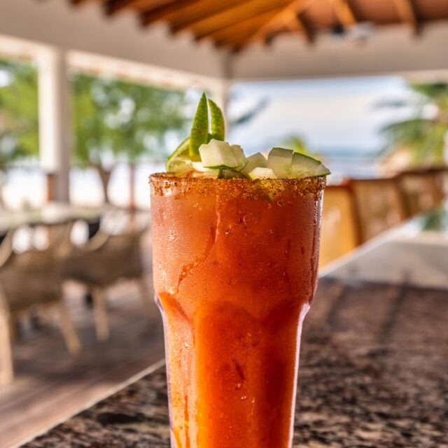 Ready for a Bloody Mary at Manta Island, Belize