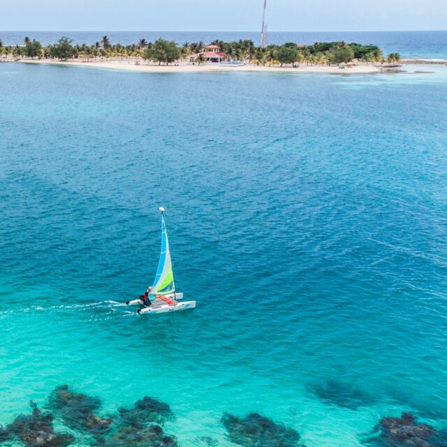 Hobie Cat sailing around Manta Island