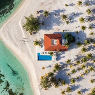 Drone shot of Manta Island, Belize